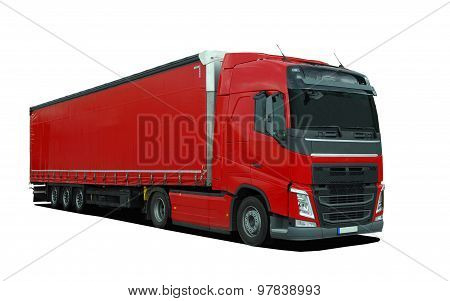 red large truck with semi trailer