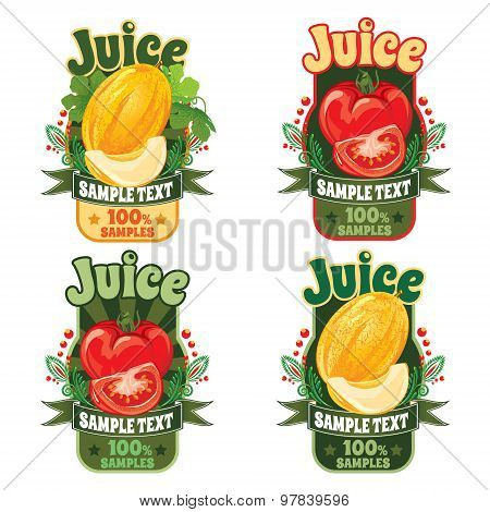templates for labels of juice from ripe sweet melon and red tomato