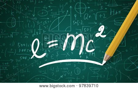 Science formula drawn with pencil on blackboard