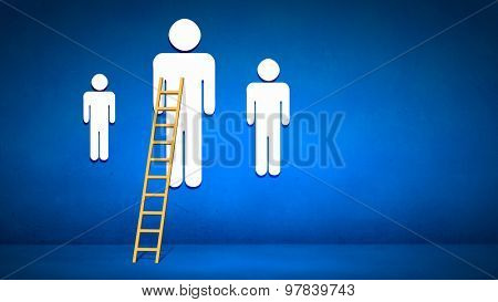 Conceptual image with ladder leading to people figures