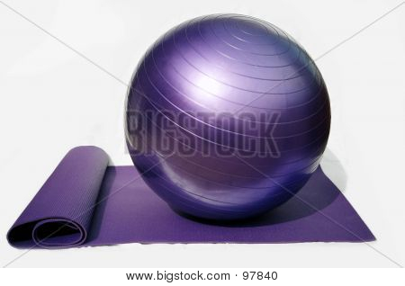 pilates ball and mat