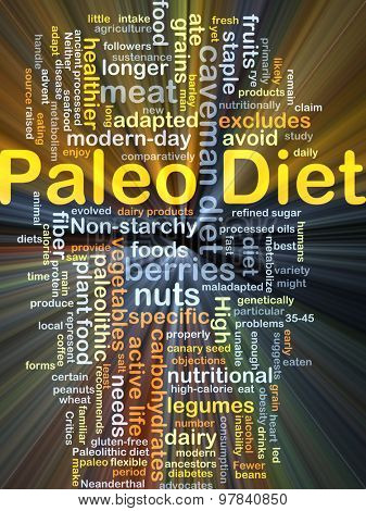 Background concept wordcloud illustration of Paleo diet glowing light