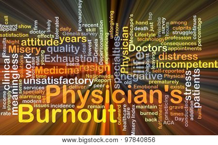 Background concept wordcloud illustration of physicianâ??s burnout glowing light