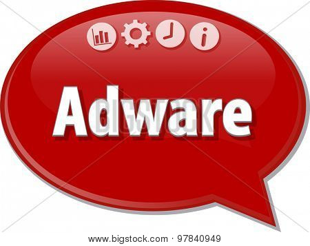 Speech bubble dialog illustration of business term saying Adware