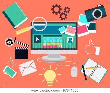 Blog concept. Computer and Web site content elements. Vector illustration