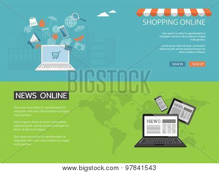 Design For Website Of News, Shop, Store Online