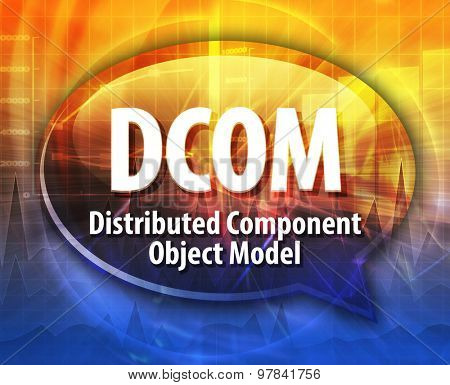 Speech bubble illustration of information technology acronym abbreviation term definition DCOM Distributed Component Object Model
