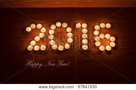Xmas Evening Tea Light Candles In Form Of 2016 New Year