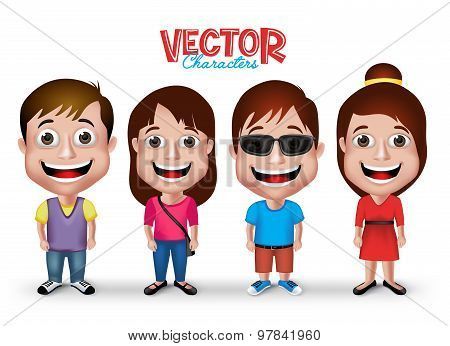 Set of Realistic 3D Boys and Girls Young Adult Kids Characters