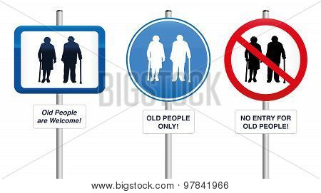 Old People Welcome Road Signs