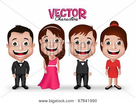 Set of Realistic 3D Groom and Party Characters Happy Smiling