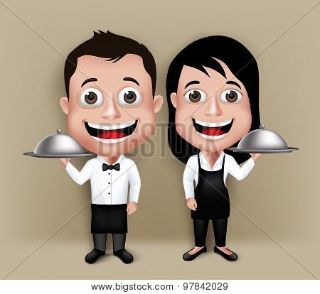 Set of Realistic 3D Waiter and Waitress Characters Happy Smiling