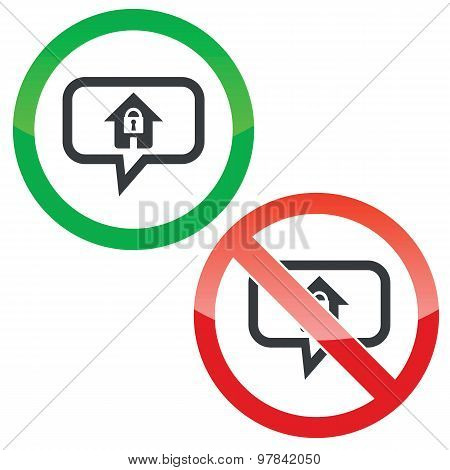 Locked house message permission signs