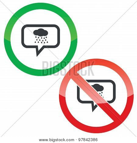 Rain message permission signs