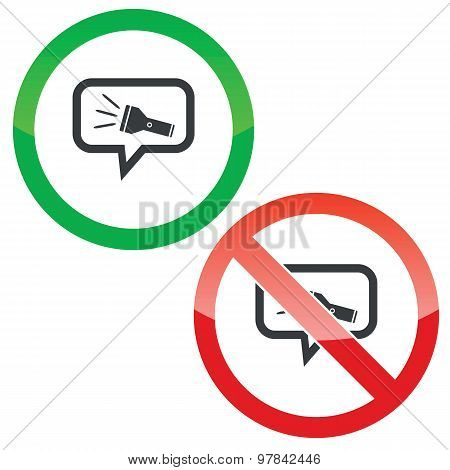 Flashlight message permission signs