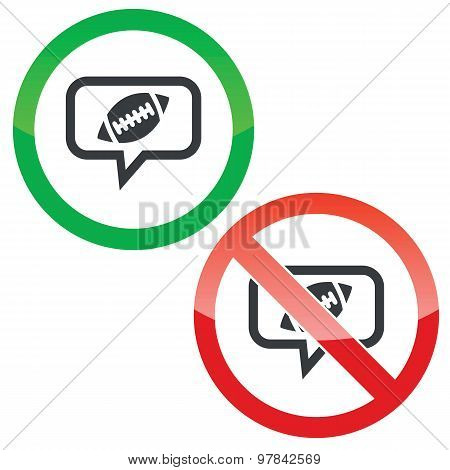 Rugby message permission signs