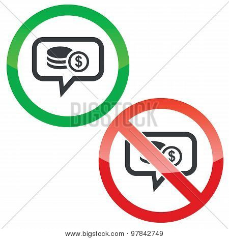 Dollar rouleau message permission signs