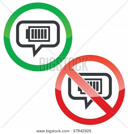 Charged battery message permission signs