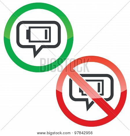 Low energy message permission signs