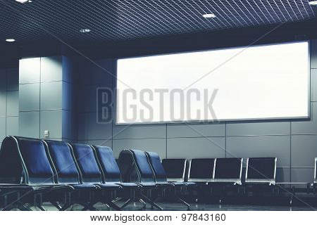 Template banner with clean space for publicity content or text message in waiting of airport hall