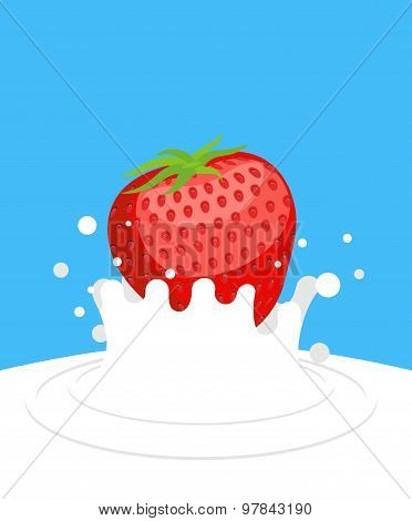 Red Ripe Strawberry Drops In Fresh Milk On A Blue Background. Splashes Of White Milk. Vector Illustr