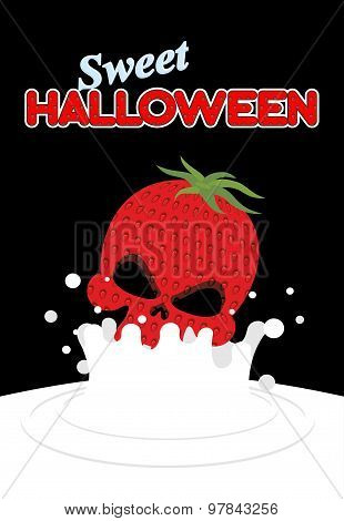 Strawberry Skull Falls In Milk. Splashes Of White Milk. Vector Illustration For Halloween