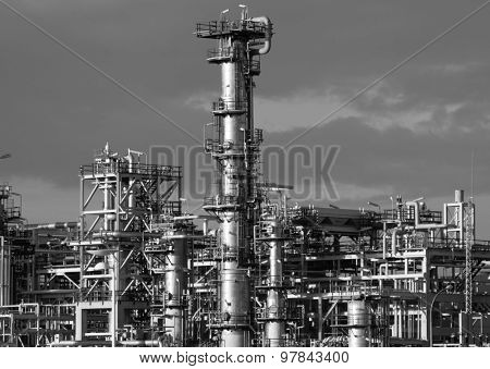 Refining plant industrial background. Black and white