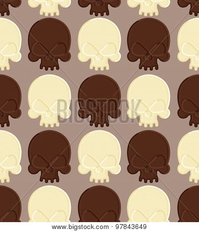 Skull White And Dark Chocolate Seamless Pattern. Head Skeleton Made Of Chocolate. Sweet Candy In  Sh