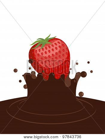Red Ripe Strawberry Drops In Liquid Hot Chocolate. Splashes Of Chocolate On White Background. Vector