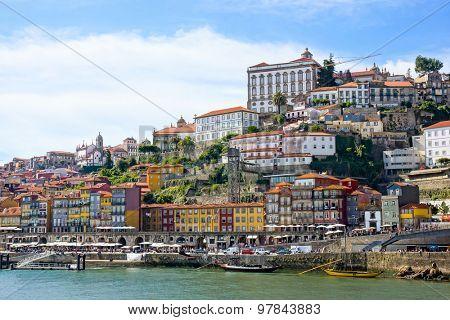 Porto old town embankment on the Douro River