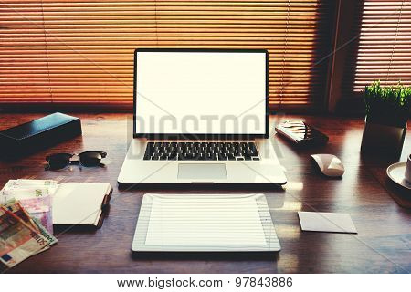 Mock up of technology devices with blank copy space screen for your text message or publicity