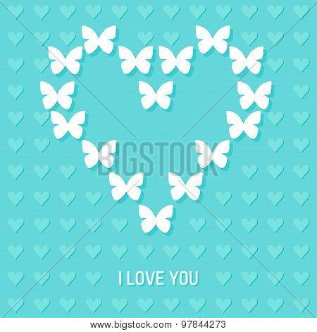 Wedding Decorative Background With Butterfly And Heart