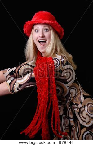 Sexy Blonde In Christmas Hat And Scarf