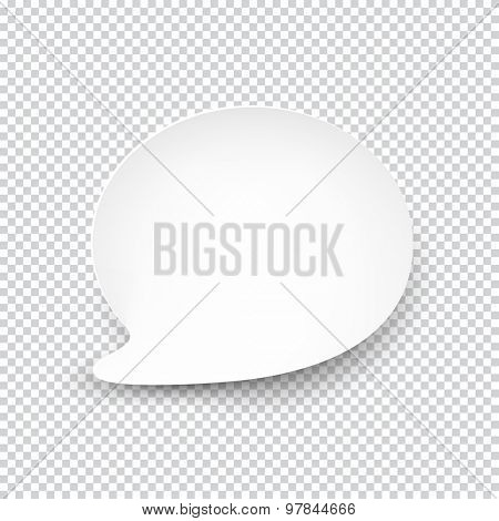 Vector illustration of white paper rounded speech bubble with shadow. Eps10.