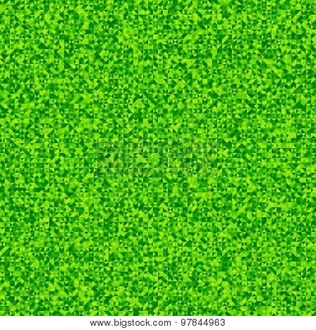 Grainy pattern composed of green triangles. Vector background.