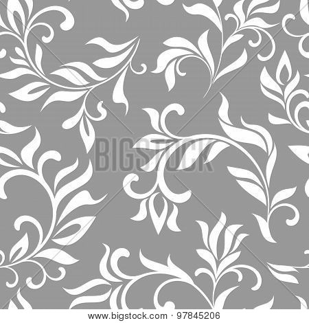 Seamless Floral Pattern On A Gray Background