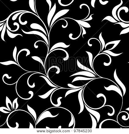 Seamless Pattern With White Flowers On A Black Background