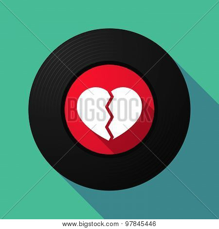 Vinyl Record With A Broken Heart