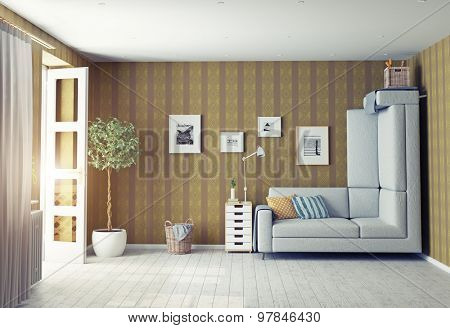 strange living room interior. 3d design concept