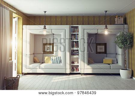 modern design living room interior. 3d design concept