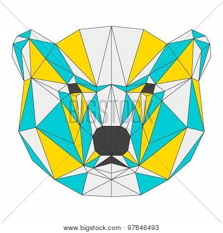Abstract Bear Isolated On White Background. Polygonal Triangle Geometric Illustration