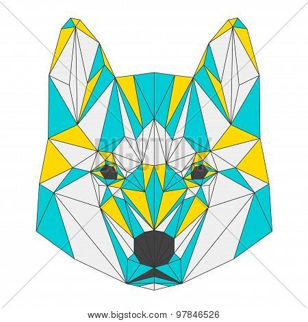 Abstract Hasky Isolated On White Background.polygonal Triangle Geometric Illustration