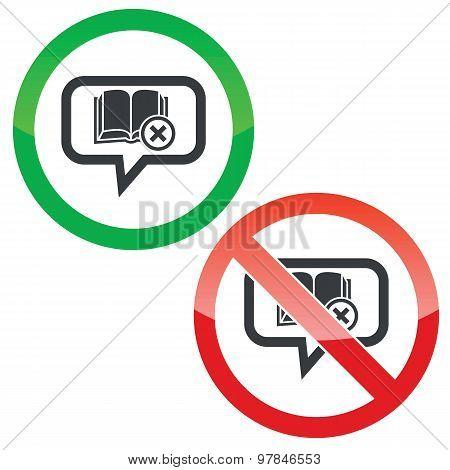 Remove book message permission signs