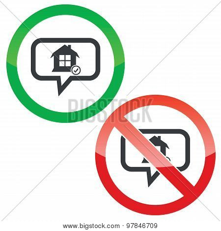 Select house message permission signs