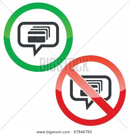 Credit card message permission signs