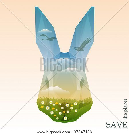 Rabbit Head With Green Meadows And Silhouettes Of Swans