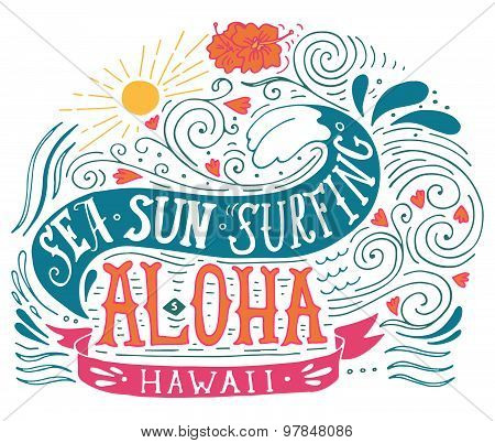 Hand Drawn Aloha Print With A Wave, Sun, Flowers And Hand Lettering