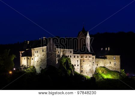Loket Castle at night, Czech Republic