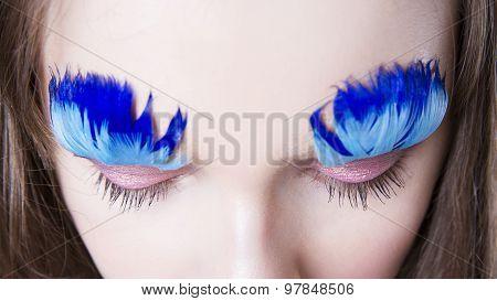 Professional Beauty Eyes Makeup. Make Up Closeup. Long Eyelashes And Perfect Skin