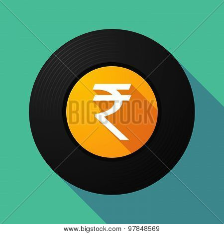Vinyl Record With A Rupee Sign